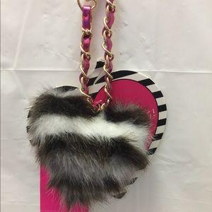 Betsey Johnson Faux Fur Heart Bag Bling